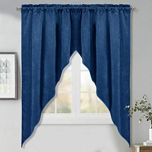 StangH Velvet Swag Curtains Blue