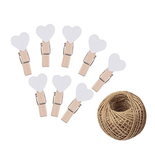 (KINGLAKE 100 Pcs White Mini Wooden Heart Clothespins 3.5 cm with Spring Wooden Photo Paper Pegs Craft Clips for Wedding Party Decor with 100 Feet Jute Twine)