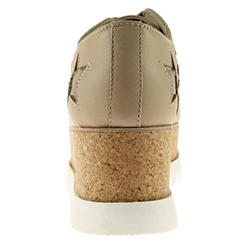 Steve Madden Kvinna Korries Läder Plattform Mode Sneakers Naken Multi