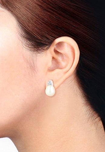 DIAMORE - Boucles d'oreilles - Argent 925 - Diamant 0.12 cts - Perle d'eau douce chinoises - 0303212315