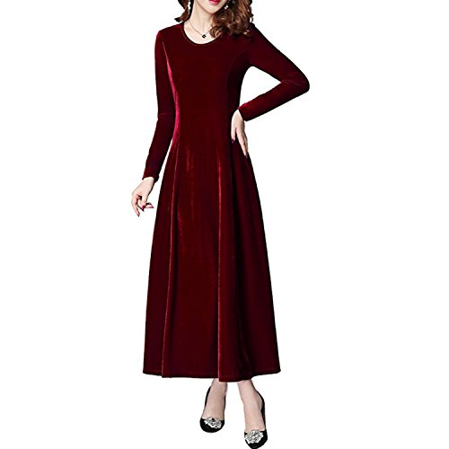 Largo de Red Larga Vestido Manga Elegante Vestido Redondo Vestido Cuello de Fiesta Maxi Xsayjia Wine Mujer Terciopelo fpCqxBOwU5