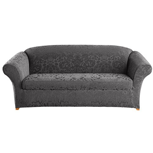 Sure Fit Stretch Jacquard Damask 2-Piece - Sofa Slipcover - Gray (SF41466)  sc 1 st  Amazon.com : sure fit sectional cover - Sectionals, Sofas & Couches
