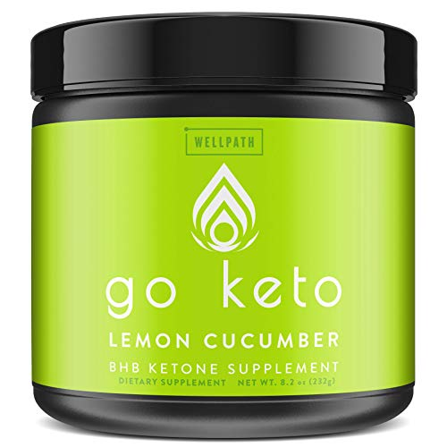 Go Keto Exogenous Ketones Powder Supplement - BHB Salts for Ketogenic Diet to Support Fat Burn, Weight Loss, Energy Boost, and Maintaining Ketosis - Lemon Cucumber Flavor, 16 Servings