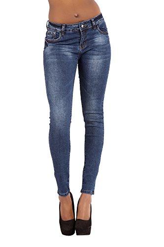 a skinny fit vita bassa slim a elasticizzati da blu donna Pantaloni bassa vita jeans wU1pRqvX