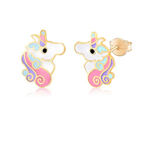 MASSETE 14k Yellow Gold Stud Earrings Unicorn Colorful Enamel for Children and Girls