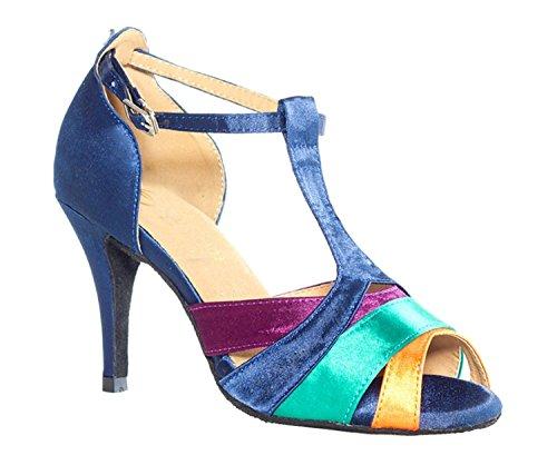 pour Multicolore danse Motif mariage en Strap Latine T femme Chaussures Sandales Minitoo Satin gnx7CfXq8w