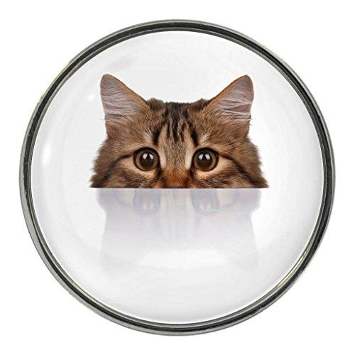 (Peeking Cat Image Design Metal Fridge Magnet)
