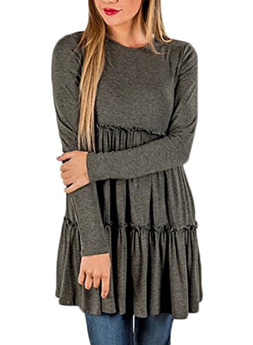 BLENCOT Women's Crewneck Long Sleeve Casual Layered Babydoll Tunic Tops-Gray Small