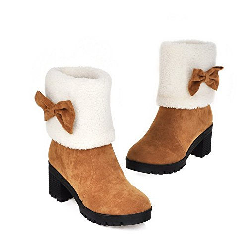 Round Boots Low Heels Toe Solid Allhqfashion Women's Frosted top Brown Kitten Closed qnxnvEF