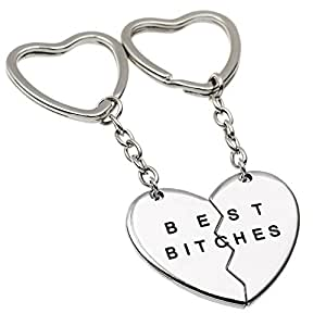 Charms Best Bitches Keychain,Best Friend KeyRing,BFF Keychain,Split Heart Key Ring, Best Friend Forever Love Jewelry Christams Gift,Best Bitches Love Silver