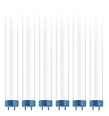 Hyperikon T8 T10 T12 4ft LED Hybrid Tube Light, Plug-and-Play, Direct Fit, Ballast Compatible or Single-End Powered Ballast Bypass, Fluorescent Replacement, 18W, Glass, 5000k, Frosted - 6 Pack