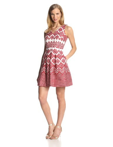 Taylor Dresses Women's Sleeveless V Neck Printed Flare Dress