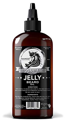 Bossman Beard Oil (4oz) – Eliminates Beard Itch, Bigger Bottle, Thicker Growth, All Natural, American Made, Non Greasy Jelly Beard Oil (Naked Scent)