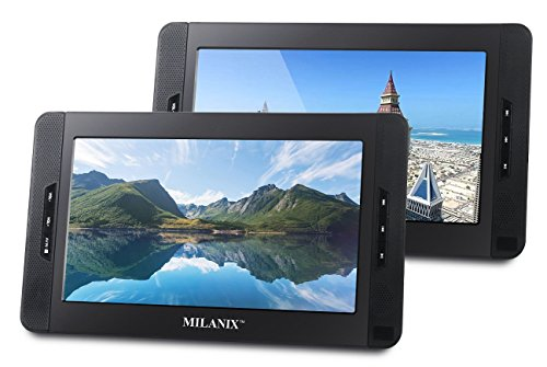 Milanix 10″ Dual Screen Portable Dual DVD Player Ultra Thin With Built In 5 Hour Rechargeable Battery, Last Memory, SD/MMC & USB Input (Plays One Movie or Two Different Movies At The Same Time) MX102