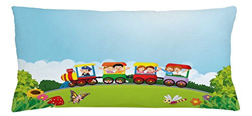 Train Throw Pillow Cushion Cover by Lunarable, Happy Passenger Boys and Girls in Wagons on Hill with Lively Nature in a Summer Day, Decorative Square Accent Pillow Case, 36 X 16 Inches, Multicolor (Summer Fabrics Hill)