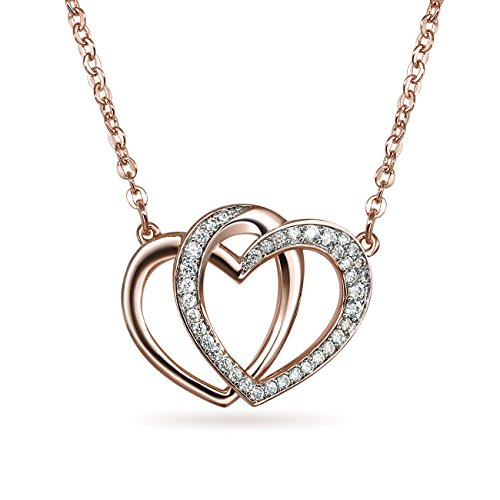 Sparkly Bride Heart CZ Station Necklace Pink Rose Gold Plated Flashed Women Fashion, 18 in