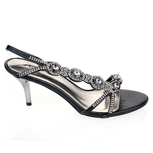 Aarz señoras de las mujeres de Banquete de boda noche de baile a medio talón de Diamante de la sandalia nupcial tamaño de los zapatos (Oro, Plata, Negro, Rojo, Azul) Negro