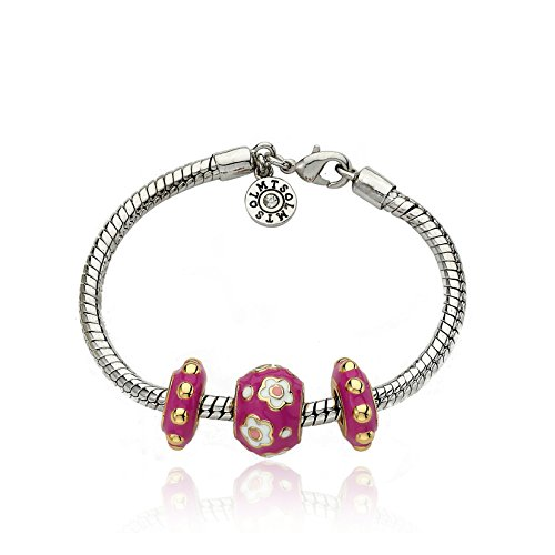 Little Miss Twin Stars Superstar Cutie 14k Gold-Plated Hot Pink Enamel 3 Slides Girl's Bracelet Accented With White Enamel Center Flowers Design./ 6.5