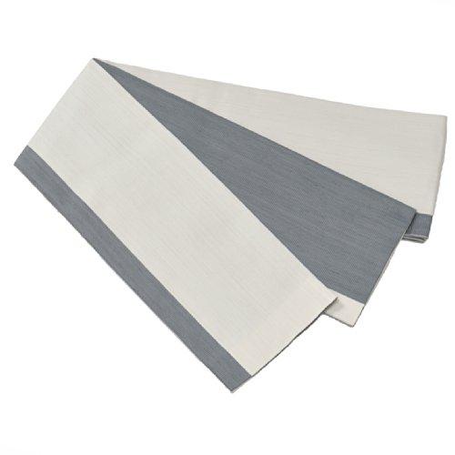Kiryu Fabric, Reversible Obi Belt for Yukata, Linen-Like Border Design, Made in Japan (White Gray) (Belt Silk Linen)