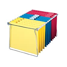 Smead Hanging File Folders with Frame, Letter Size, 12 Assorted Color Folders and 1 Frame (64805)