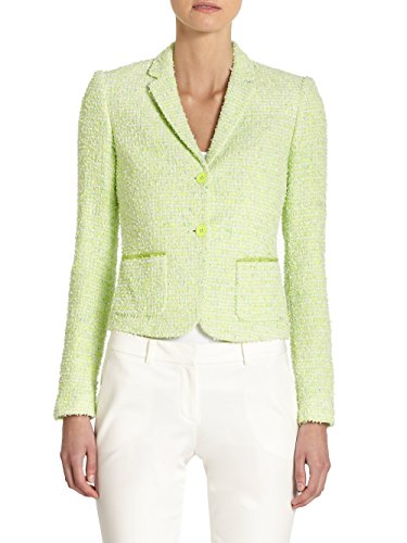 Elie Tahari Women's Shannon Speckled Tweed Blazer Jacket, Green, 12