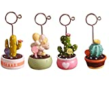 NACOLA Cute Cactus Photo Clips,Resin Note Memo Card Holder Mini Plant Reserved Number Clip Table Decoration for Home Office