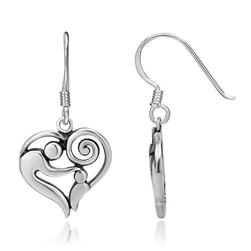 925 Sterling Silver Mom and Child Heart Hug Love Dangle Earrings