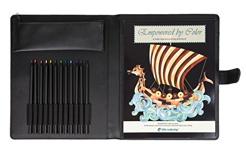 Men's and Teens Fathers Mens Adult Coloring Book Portfolio Complete Set Relieves Stress Anxiety, Promotes Relaxation Colored Pencils Sharpener Travel Case USA - Set Portfolio Art