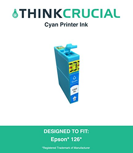 High Quality Replacement Cyan Toner Ink Cartridge Fits Epson 126 Stylus NX330, NX430, Workforce 60, 435, 520, 545, 630, 633, 635, 645, 840, 845, WF-3520, WF-3530, Part # T126220, by Think Crucial -  Crucial Brands