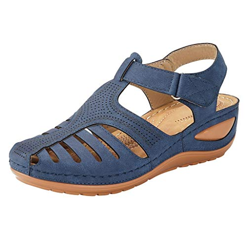 (Women's Retro Wedges Comfortable Ankle Hollow Round Toe Sandals Soft Sole Shoes Navy)