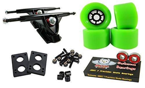 Longboard 180mm Trucks Combo w/83mm Flywheels + Owlsome ABEC 7 Bearings (Green)