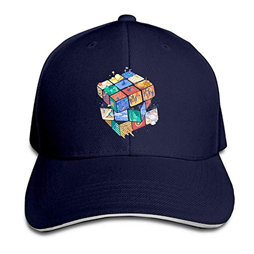 Hat Cube Art Denim Skull Cap Cowboy Cowgirl Sport Hats for Men Women