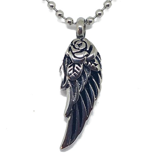 Opening Bible Charm (Lauren Annabelle Studio Rose Eagle Wing Cremation Urn Jewelry, Stainless Steel Pendant Necklace for Men and Women on Funeral Day. Keepsake for Loved one)