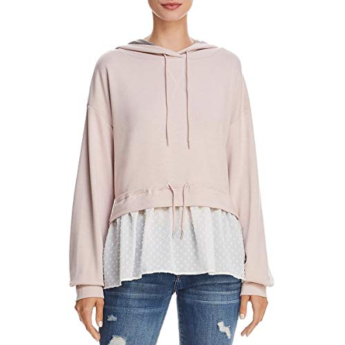 French Connection Womens Cantin Illusion Layered Sweatshirt Pink XS (French Viscose)