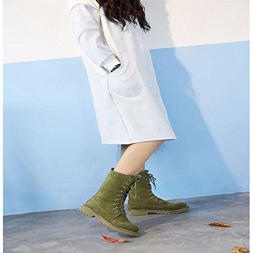 Botas de algodón cuero plano Botas Martin Botas de mujer en el tubo botas frote más terciopelo zapatos de algodón grueso botas de nieve caliente Dark green
