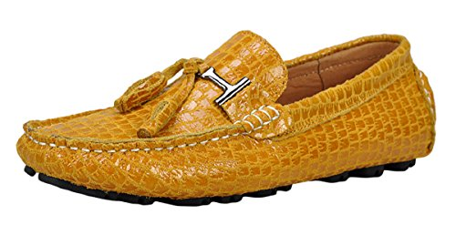 Serene Mens Fashinon Unisex Slip-On Moccasin Boat Loafers (10.5 D(M)US, Yellow)