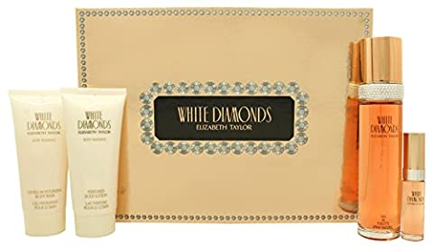 Elizabeth Taylor White Diamonds Gift Set 3.4oz (100ml) EDT + 3.4oz (100ml) Body Lotion + 3.4oz - Elizabeth Taylor Rose Body Lotion