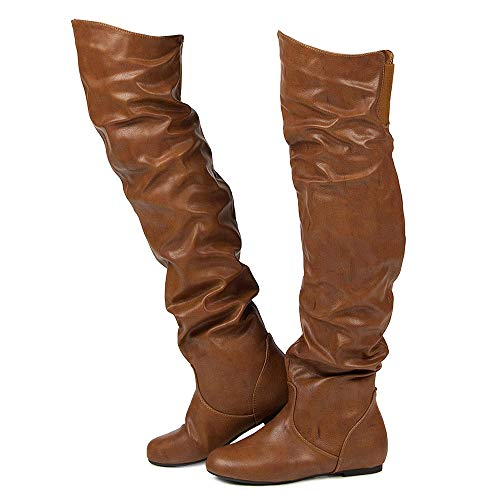 RF ROOM OF FASHION Women's Stretchy Over The Knee Slouchy Boots (Cognac PU Size 12)