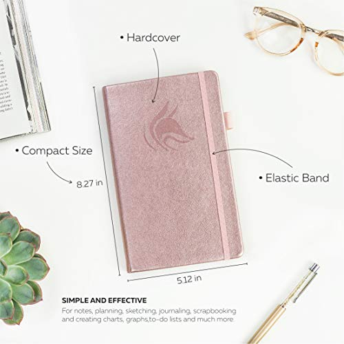 Clever Fox Dotted Notebook - Dot Grid Bullet Numbered Pages Hard Cover Notebook Journal With Thick 120g Paper and Pen Loop, Stickers, 3 Bookmarks, Smooth Faux Leather, 5.12'' x 8.27'' - Rose Gold