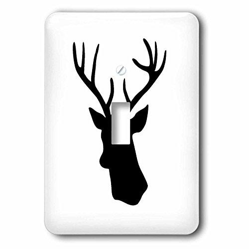 3D Rose lsp_179700_1 Black Deer Head Silhouette on White....