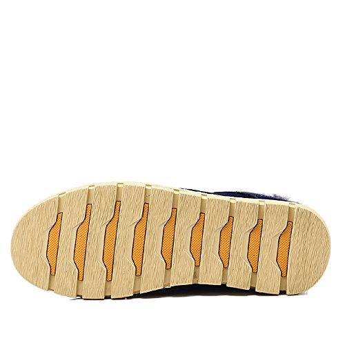 Yzhyxs Hombres Botas Invierno Gamuza Cuero De Vaca Zapatos Casuales De Moda Botas De Nieve Azul Marino