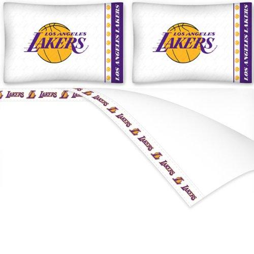 NBA Los Angeles Lakers Micro Fiber Sheet Set, King, White by Sports Coverage