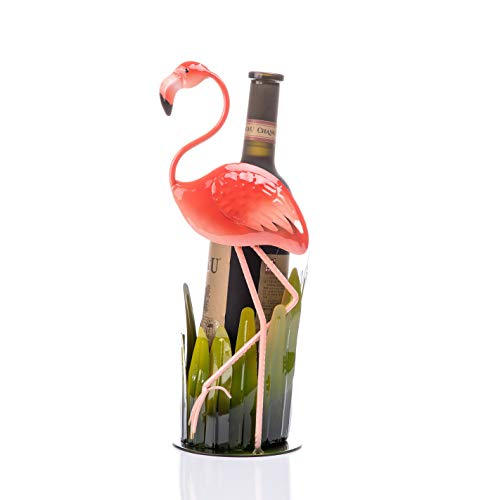 (FLY SPRAY Wine Rack Flamingo Wrought Iron for Kitchen Restaurant Wine Bar Home Interior Decor Ins Style Creative Gifts Free Standing Wine Holder Storage Rack Collection 1-Bottle)