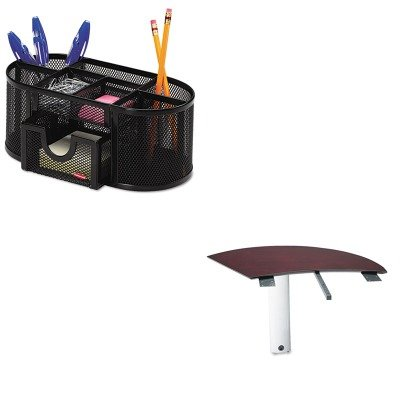 KITMLNNEXTLMAHROL1746466 - Value Kit - Mayline Napoli Series Left Curved Desk Extension (MLNNEXTLMAH) and Rolodex Mesh Pencil Cup Organizer (ROL1746466)