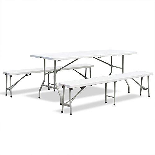 Bierzeltgarnitur-Frhstcks-Garnitur-Camping-Set-Esstisch-klappbar-Creme-hell-Tisch-180x75x74-cm-mit-2-Bnken-183x28x48-cm-aus-HDPE-Kunststoff-mit-Metalgestell-pulverbeschichtet-mit-Klappfunktion-und-Tra