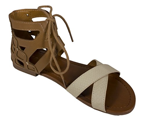 City Classified Womens Wabash Open Toe Lace Up Strappy Cut Out Sandal in Sand Beige Leatherette U1TS3