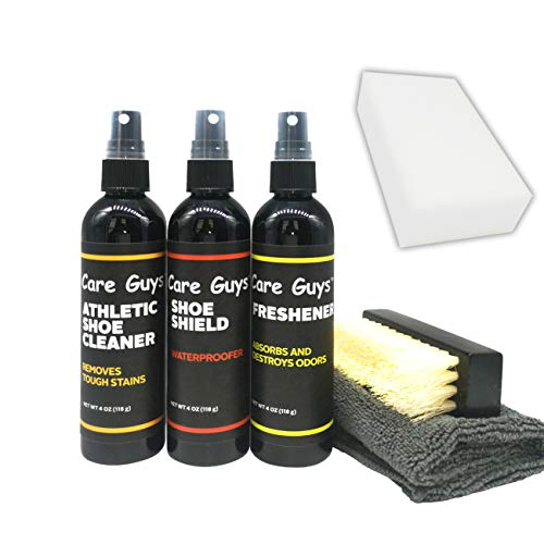 Care Guys Shoe cleaning kit Includes 4 oz shoe cleaner,4 oz shoe waterproof spray,4 oz shoe freshener |Perfect for Leather, Suede,Tennis, Canvas, Mesh, Knit