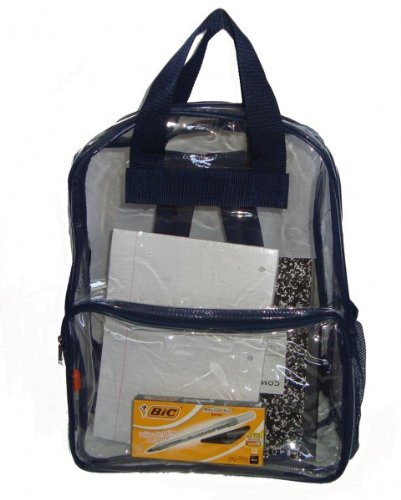 "Ddi See-Through Clear Pvc Backpack, 17x13x5"", Navy. (pack Of 40) from DDI"