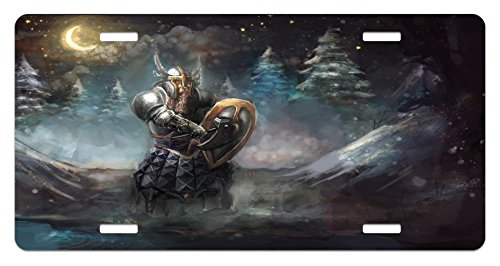 Ambesonne Fantasy License Plate, Artistic Illustration of Medival Dwarf Knight in Gothic Shield in Mysterious Forest, High Gloss Aluminum Novelty Plate, 5.88 L X 11.88 W Inches, (Gothic Shield)