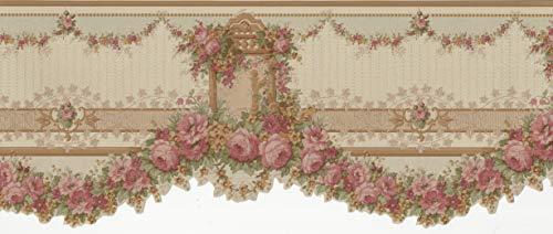 Wallpaper Border Victorian Silk Gold Die Cut Floral Garland Swag Green Red Peach - Floral Die Cut Wallpaper Border